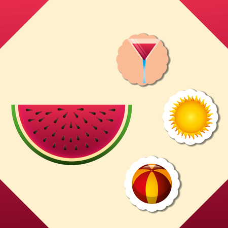 summer time watermelon stickers beach ball cocktail sun vector illustration Ilustracja
