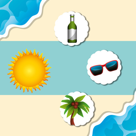summer time beach sun glasses drink bottle palm coconuts vector illustration