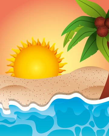 summer time sunset day beach sand paml coconuts vector illustration