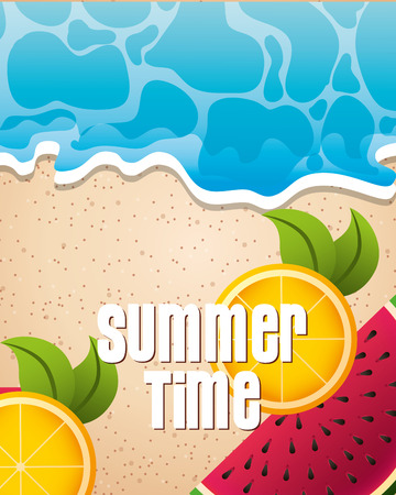 summer time watermelon  oranges  ocean vector illustration Ilustracja