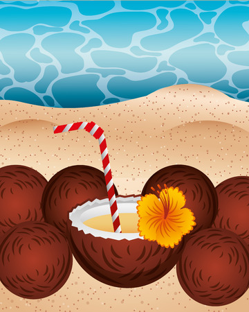 summer time coconuts flowers sand beach vector illustration