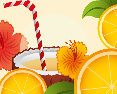 summer time coconut flower  oranges  leaves vector illustration