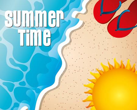 summer time beach sand sign sun sandals vector illustration