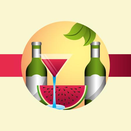 summer time drink bottle watermelon cocktail plant vector illustration