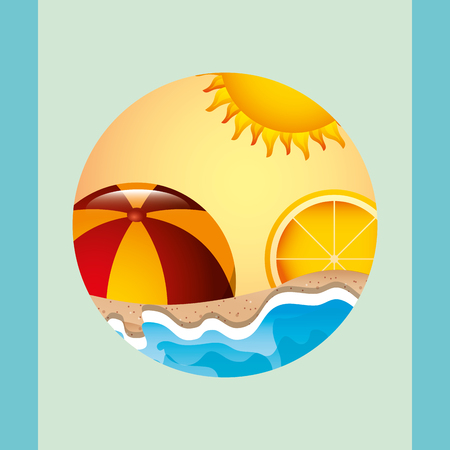 summer time beach ball ocean sunset  orange vector illustration