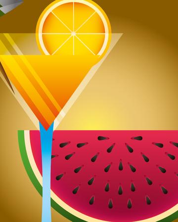 summer time watermelon  orange cocktail vector illustration