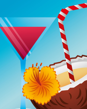 summer time cocktail coconut drink flower vector illustration