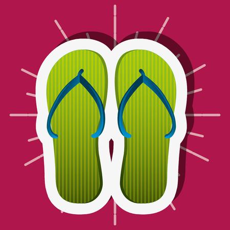 summer time green sandals pink background vector illustration