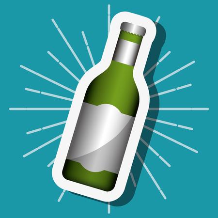 summer time green drink bottle   background vector illustration