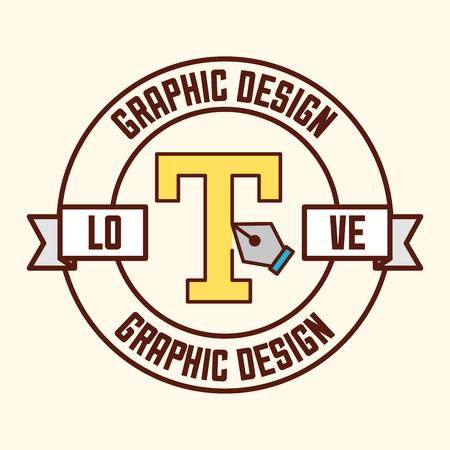 graphic design sticker sign letter creation vector illustration