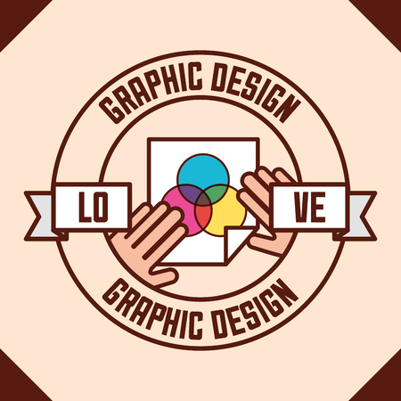 graphic design love hands bending paper colors vector illustration