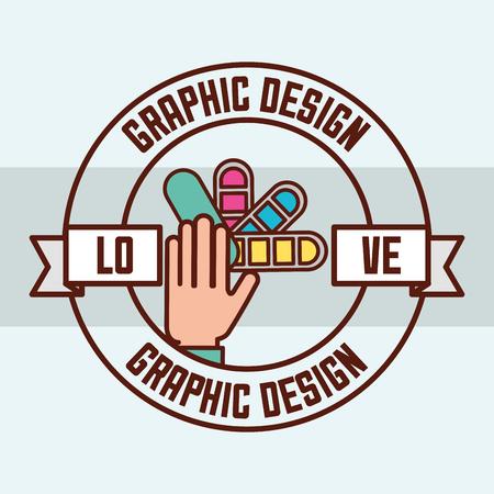 disegno grafico amore mani che tengono l'illustrazione di vettore dell'autoadesivo della tavolozza di colori
