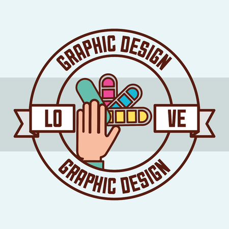 graphic design love hands holding colors palette sticker vector illustration