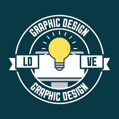 graphic design computer screen light bulb idea love vector illustration