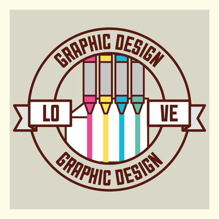 graphic design love crayons colors paint sticker sign vector illustration Ilustrace