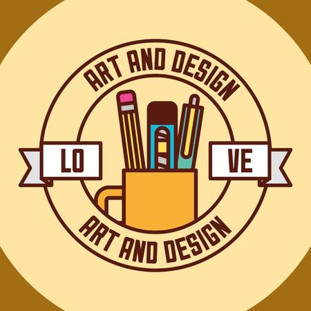 art and design sticker ribbon sign cup pen scalpel eraser vector illustration Ilustracja