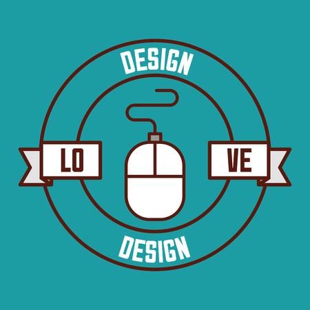 illustrazione creativa di vettore del mouse di amore del nastro di progettazione grafica