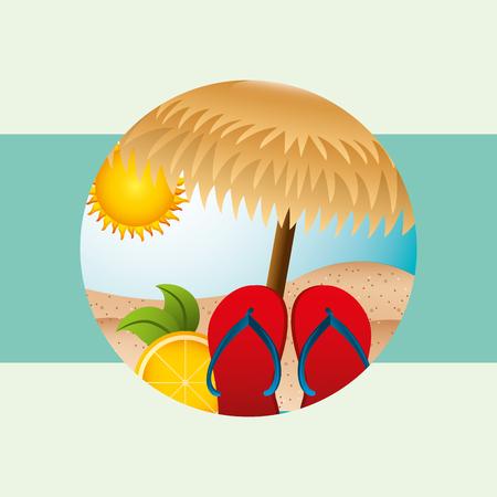 summer time sandals beach  orange umbrella sunny day vector illustration Ilustracja