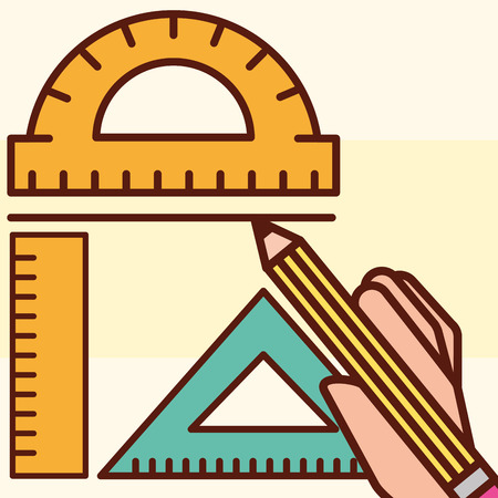 graphic design rules hand holding pen creative vector illustration