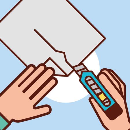 graphic design hands holding paper cut scalpel vector illustration Ilustracja