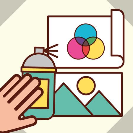Diseño gráfico mano sujetando pintura en aerosol papel fotográfico colores ilustración vectorial