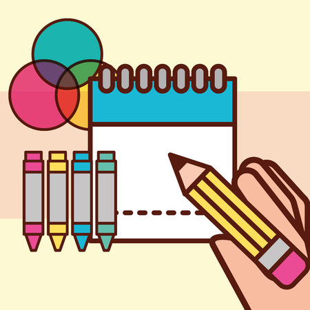 graphic design hand holding pen calendar crayons paint vector illustration Ilustrace