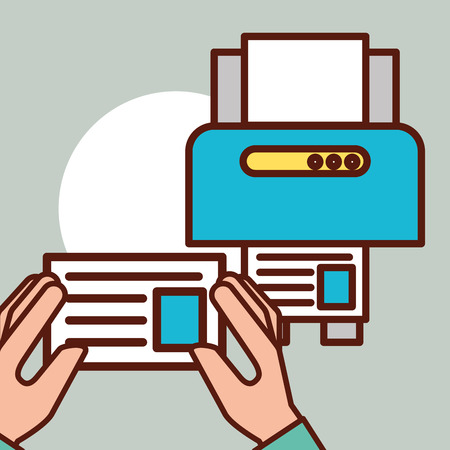 graphic design hands holding paper document printer vector illustration