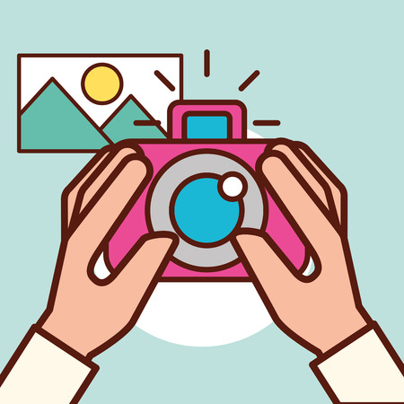 graphic design hand holding camera taking photo landscape vector illustration