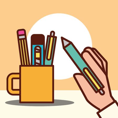 Diseño gráfico mano sujetando bolígrafo taza bisturí borrador ilustración vectorial Ilustración de vector