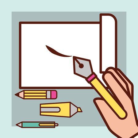 graphic design hand holding tweezer paper cut pen scalpel vector illustration