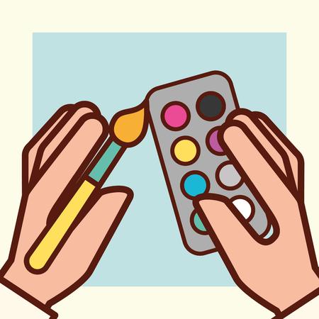 mani di progettazione grafica che tengono l'illustrazione di vettore delle tavolozze di colori del pennello