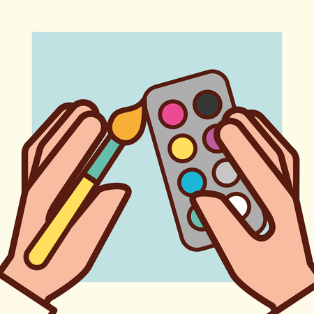graphic design hands holding brush colors palettes vector illustration Illustration