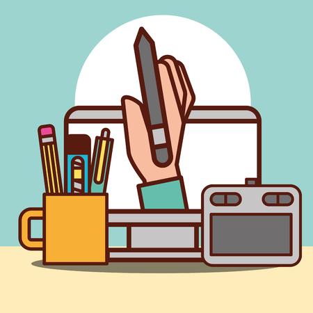 graphic design hand holding pen tablet computer scalpel vector illustration