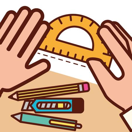 graphic design hands holding rule pen scalpel vector illustration