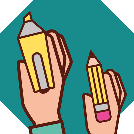 graphic design hands holding pen highlighter vector illustration Ilustração
