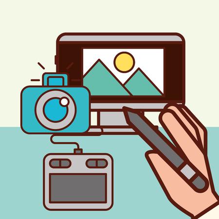 Grafikdesign Computerbildschirm Landschaftskamera kreative Vektorillustration