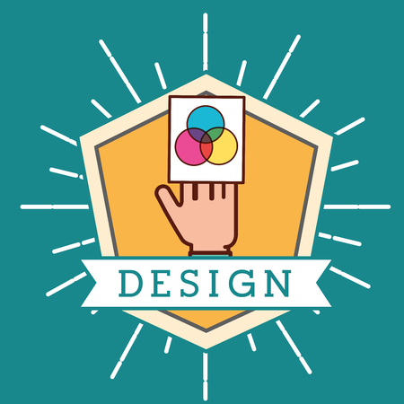 graphic design figure sticker ribbon sign hand holding paper colors vector illustration Illustration