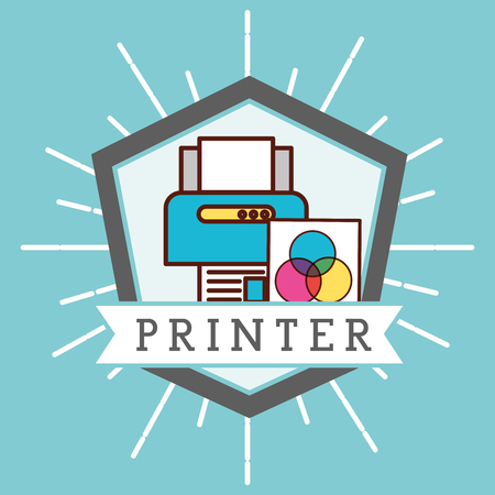 graphic design sticker figure ribbon sign printer colors papers vector illustration Illustration