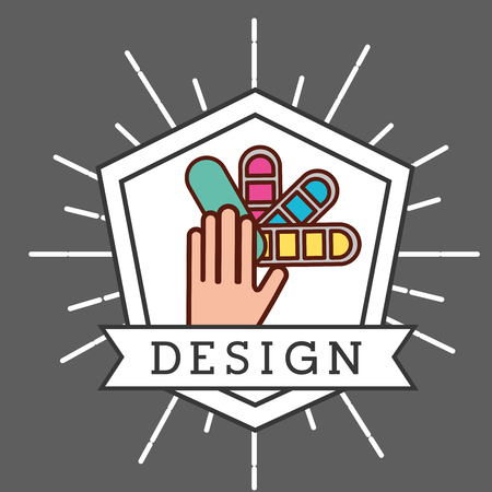 graphic design ribbon sign hand holding colors palette grunge style vector illustration