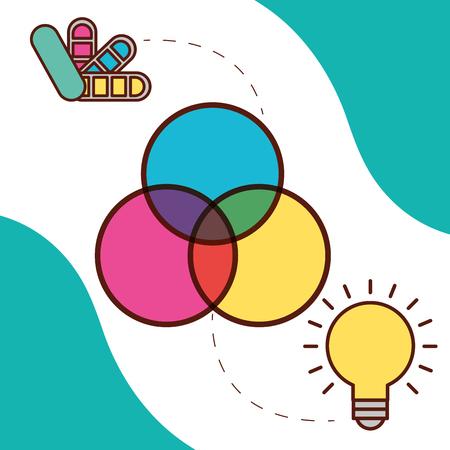 graphic design circles color palette light bulb idea vector illustration