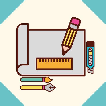 graphic design paper rule to size pen brush scalpel vector illustration