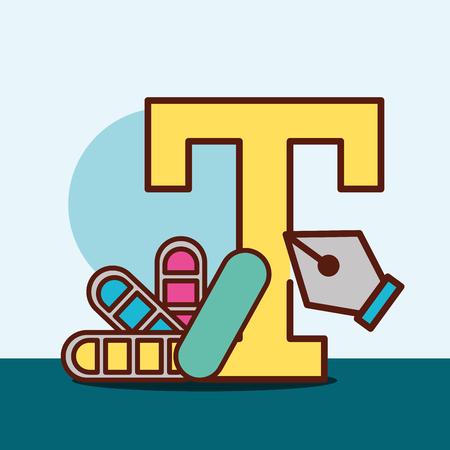 graphic design letter color palette tweezer vector illustration
