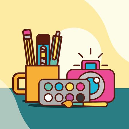graphic design camera colors palette brush cup with pen eraser scalpel vector illustration