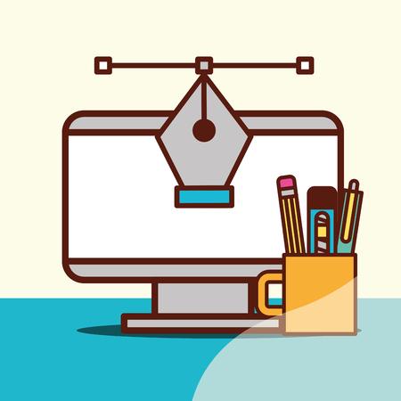graphic design computer tweezer connection line cup pen eraser scalpel vector illustration