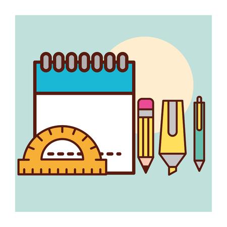 graphic design calendar pen scalpel boligraph rule vector illustration
