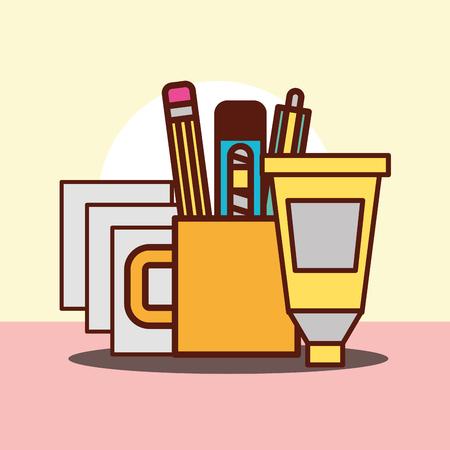 graphic design paper cup pen eraser scalpel glue vector illustration
