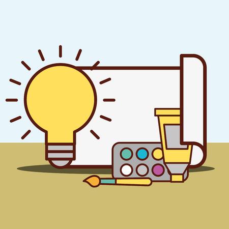 graphic design light bulb idea paper glue colors palette painting vector illustration