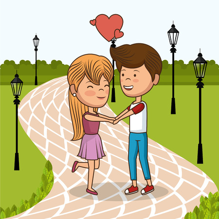 couple in love on park vector illustration design Stock fotó - 111694453