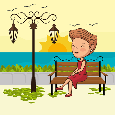 young woman in the park chair vector illustration design