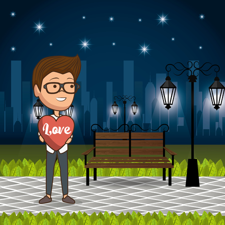 man in love in the park at night vector illustration design Illusztráció
